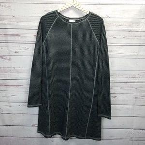🌞J. Jill XS Black Gray Striped Long Sleeve Dress